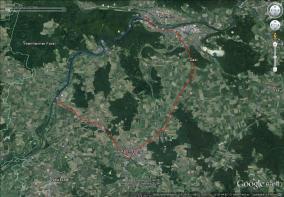 Rot: Radtour, ca. 25km, Blau: Packraft, ca. 14km