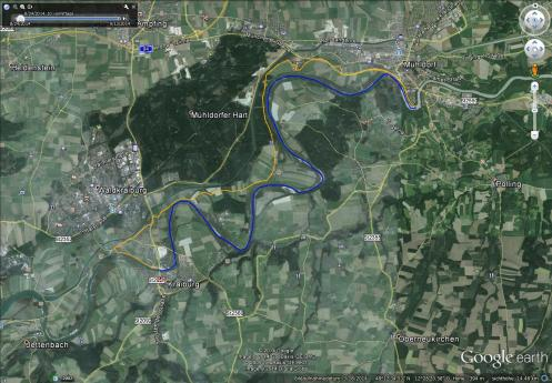 Orange: Radtour, 16km, Blau: Packraft, 18km