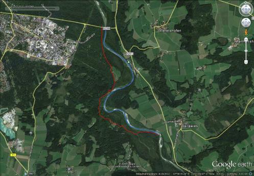 rot: Wanderung, ca. 4 km, blau: Packraft, ca. 4,3km