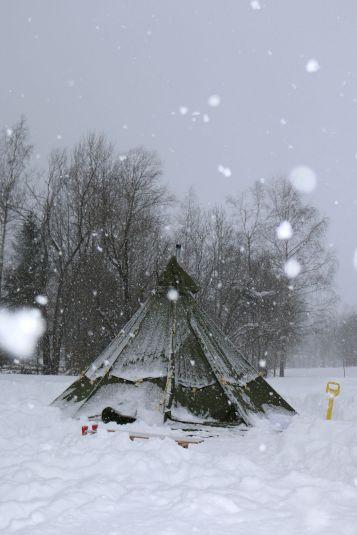 Schneegestöber am nächsten Vormittag