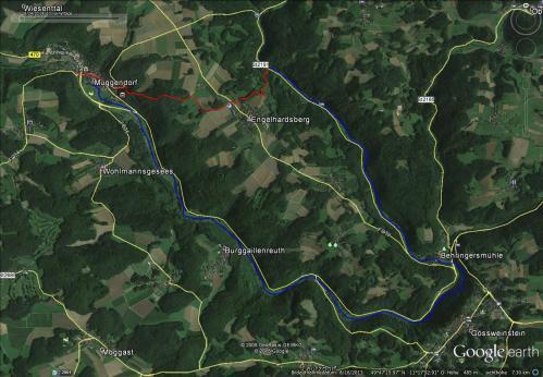 rot: Wandertour, 4km; blau: Paddeltour: 13km