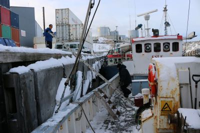 da inzwischen Ebbe ist, müssen wir in Ilulissat auch nochmal die Leiter hochklettern