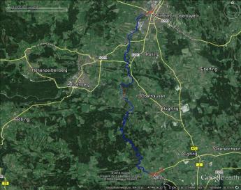 Tourübersicht: rot: Laufstrecke, blau: Paddelstrecke, hellblau: Mündungsbereich der Uffinger Ach