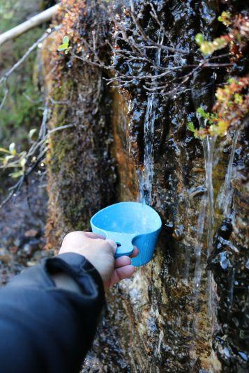 ich hole Wasser an einer kleinen, kristallklaren Quelle