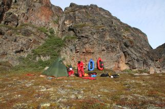 Lager m Schutz einer Felswand
