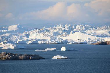 Eisberge in der Nachmittagssonne